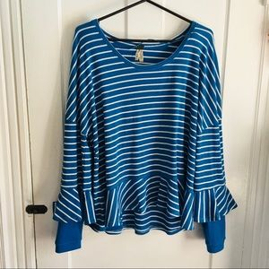 We the free blue striped long sleeve shirt